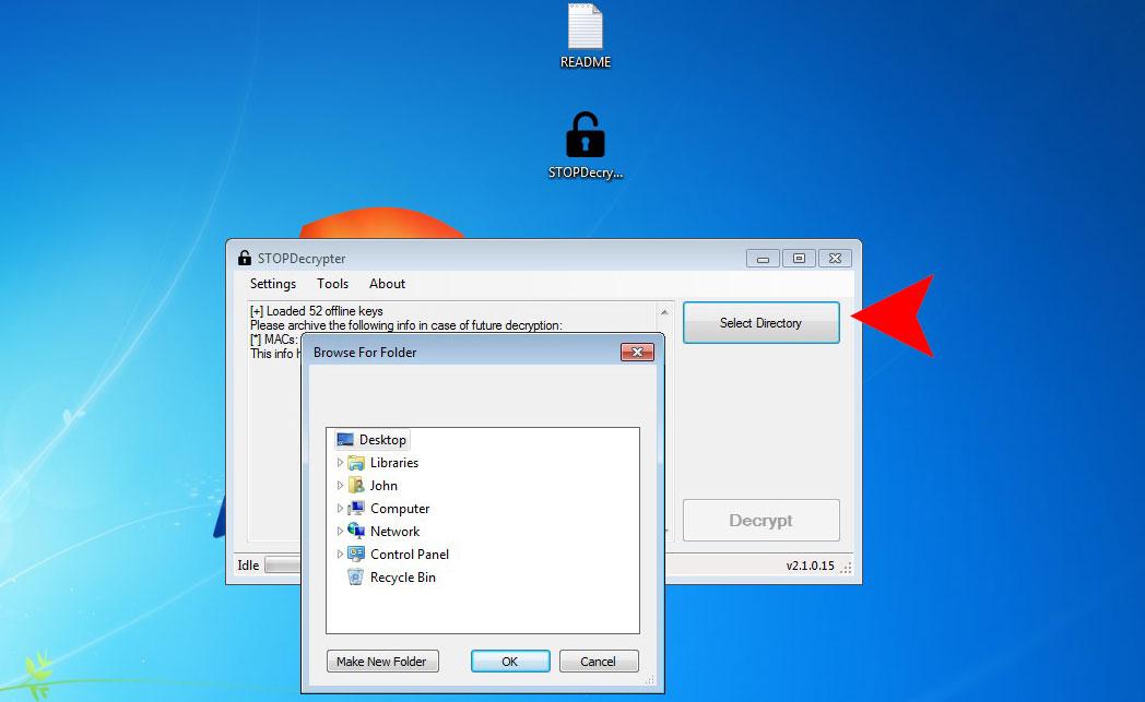 STOPDecrypter select folder