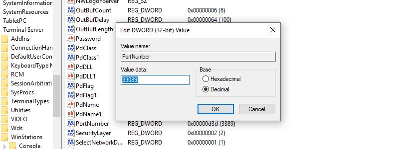 RDP port changes