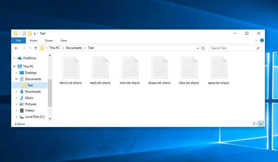 Shariz Virus - crypted .shariz files